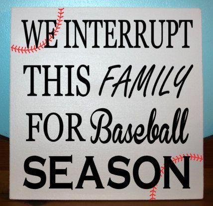 Baseball plate, We interrupt this family for baseball