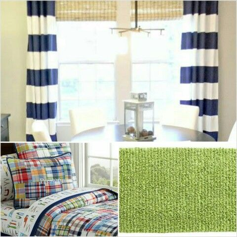 Isaiah\'s big boy bedroom...navy and white striped curtains, Pottery ...