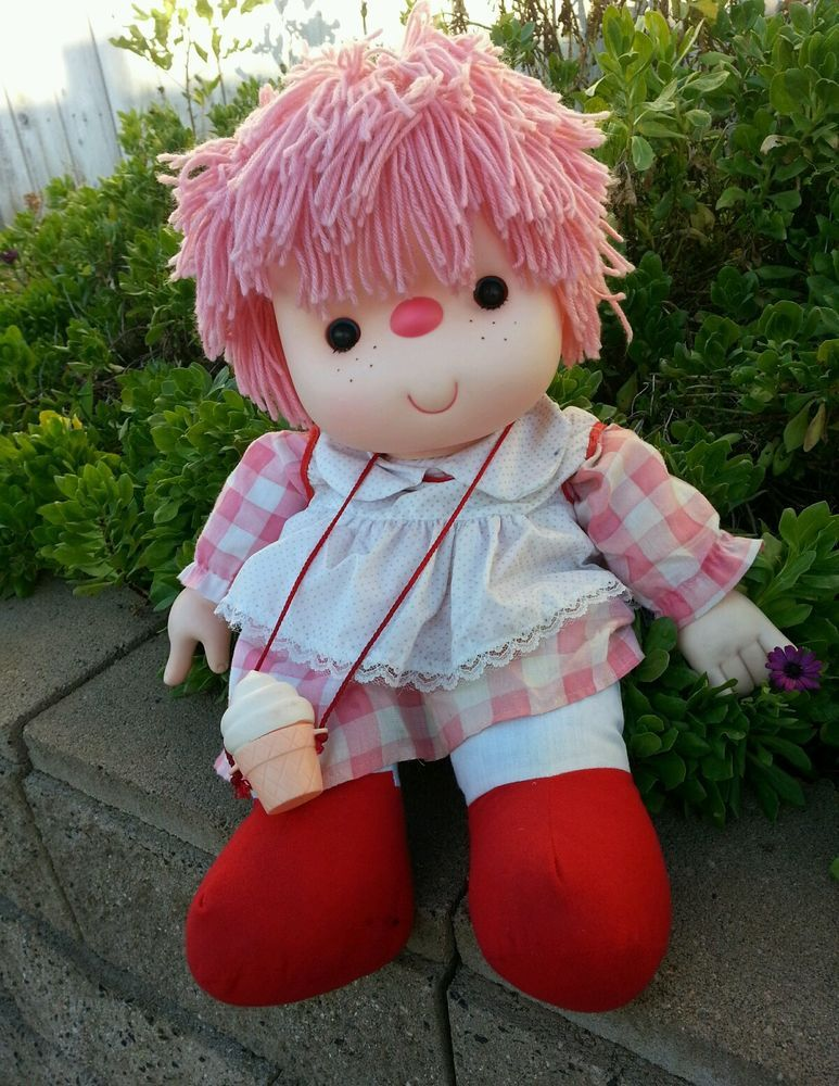 Vintage 80s 24 Large Ice Cream Doll Girl With Pink Hair Girl With Pink Hair Vintage Toys Childhood Memories 70s