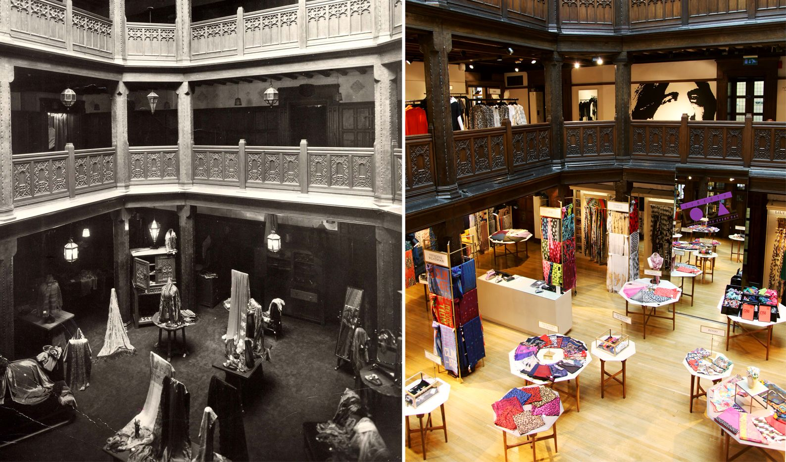 Liberty London Scarf Hall c1920 and today | Display tables and ...
