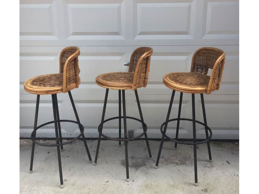 Vintage Set Of Three Rattan Bar Stools Apartment Therapy Marketplace Clifieds