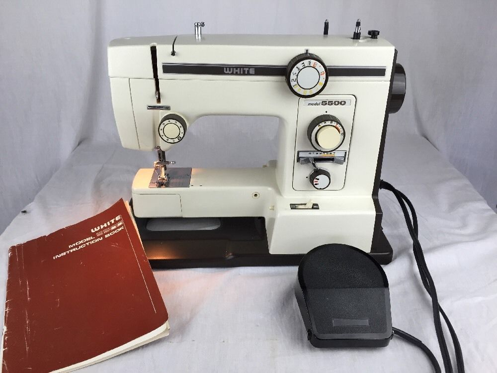 Vintage White Sewing Machine Model 40 Zigzag Portable With Manual Best White 5500 Sewing Machine