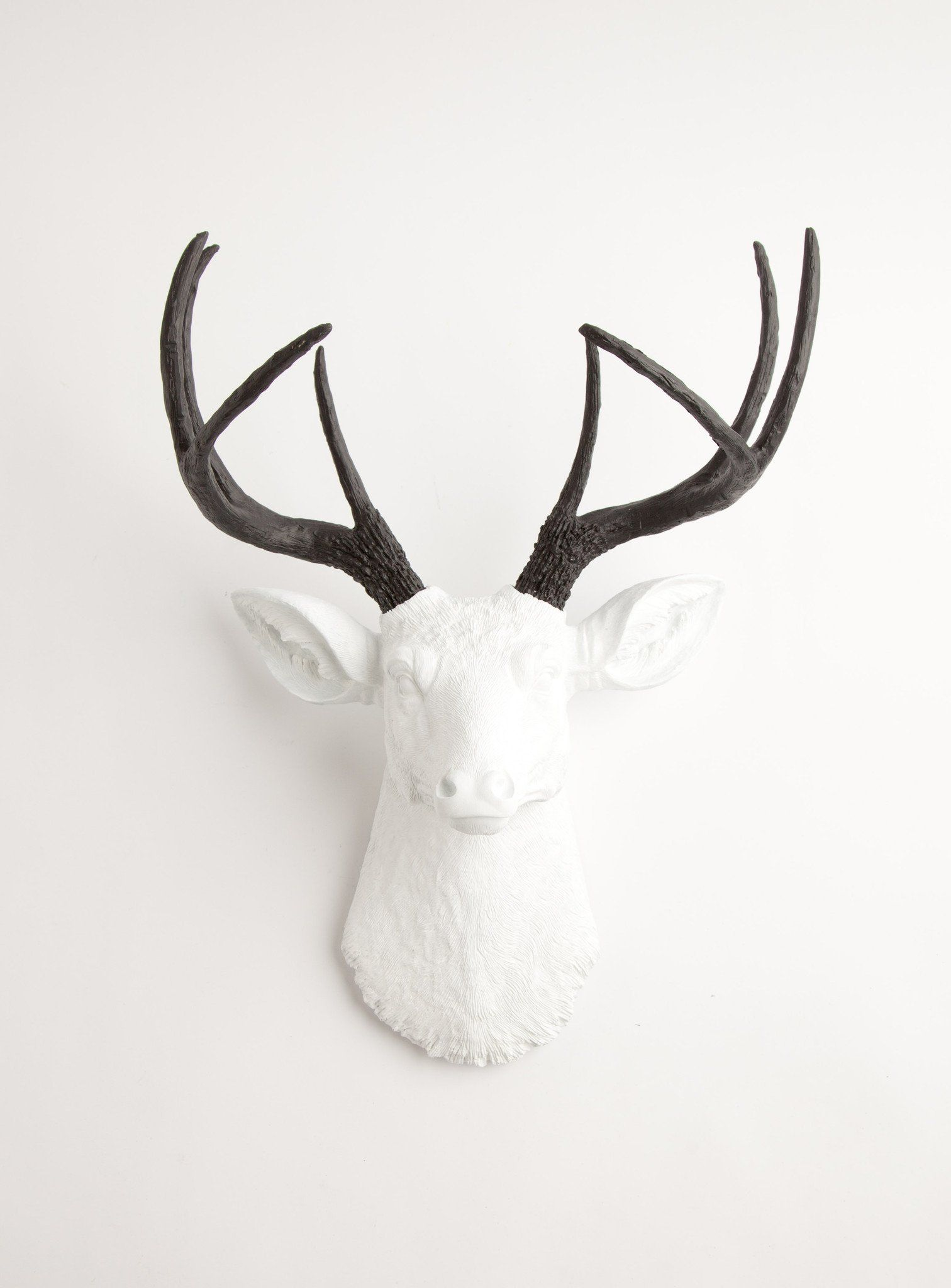 The Maud Stag Deer Head Faux Taxidermy White W Black