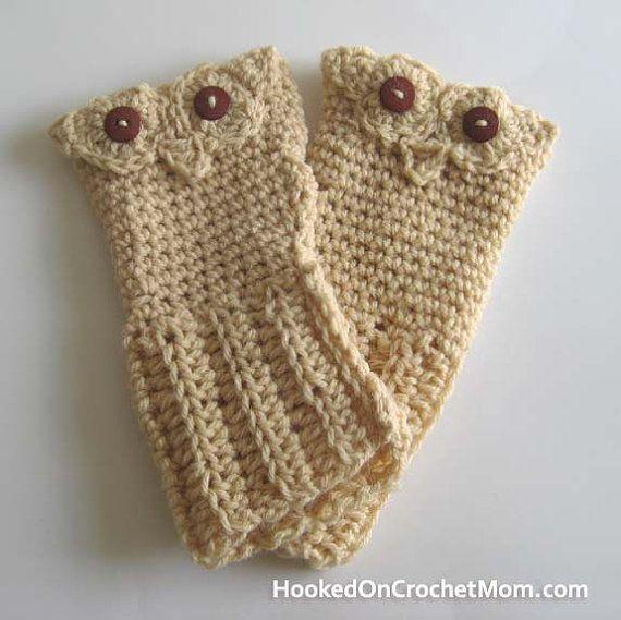 Owl Fingerless Gloves, Wrist Warmers, Hand Warmers Tan Color ...