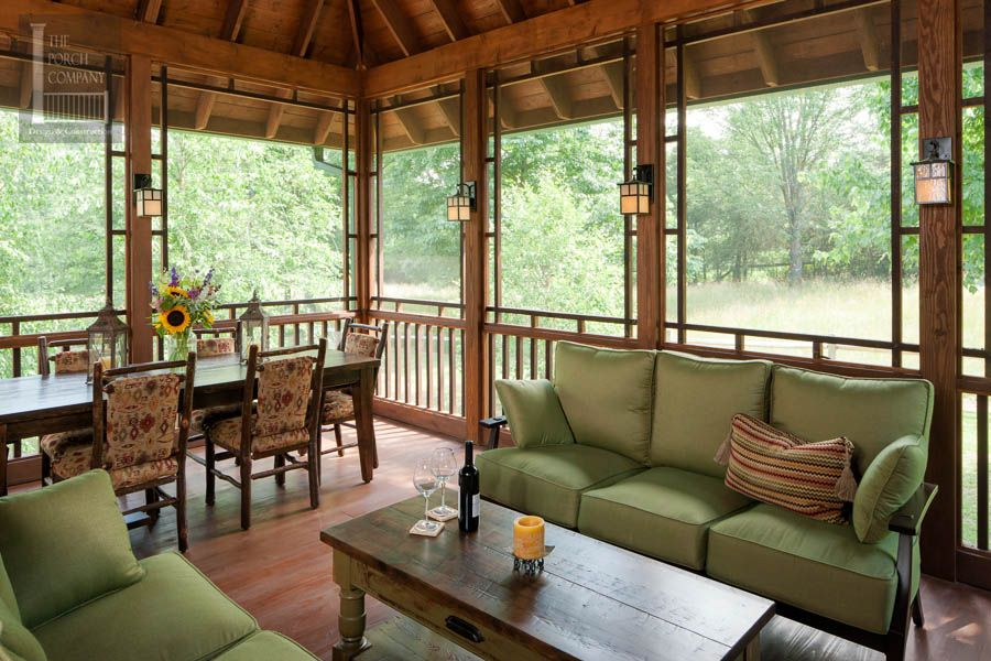 Screened Porch Beautifully Matches Home Porch Furniture