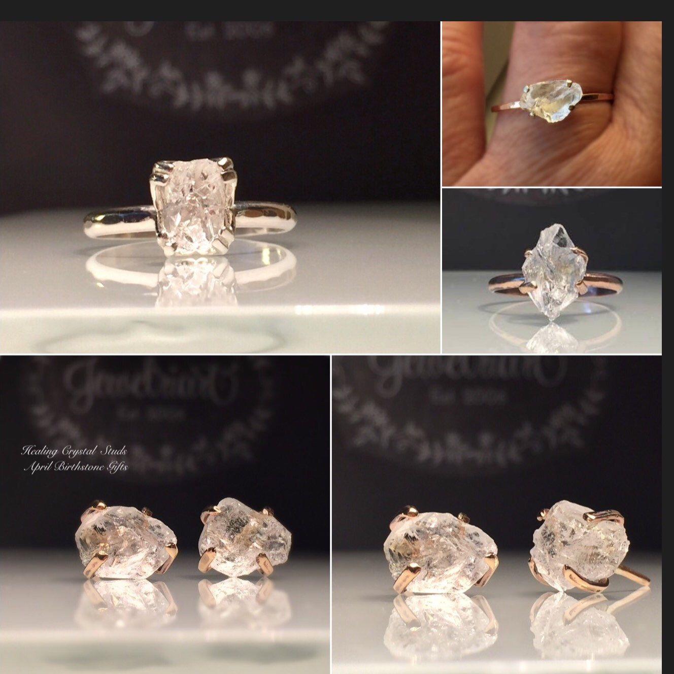 Healing Crystal EarringsHerkimer Diamond StudsRaw Rose Gold