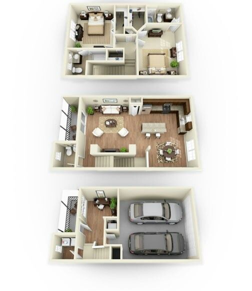 Cute townhouse 3d floor plans pinterest townhouse for Contemporary townhouse plans