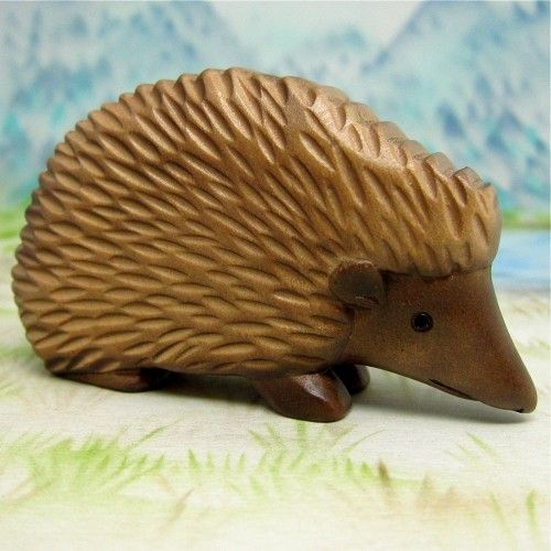 This is too adorable hedgehog carved painted wood mammal