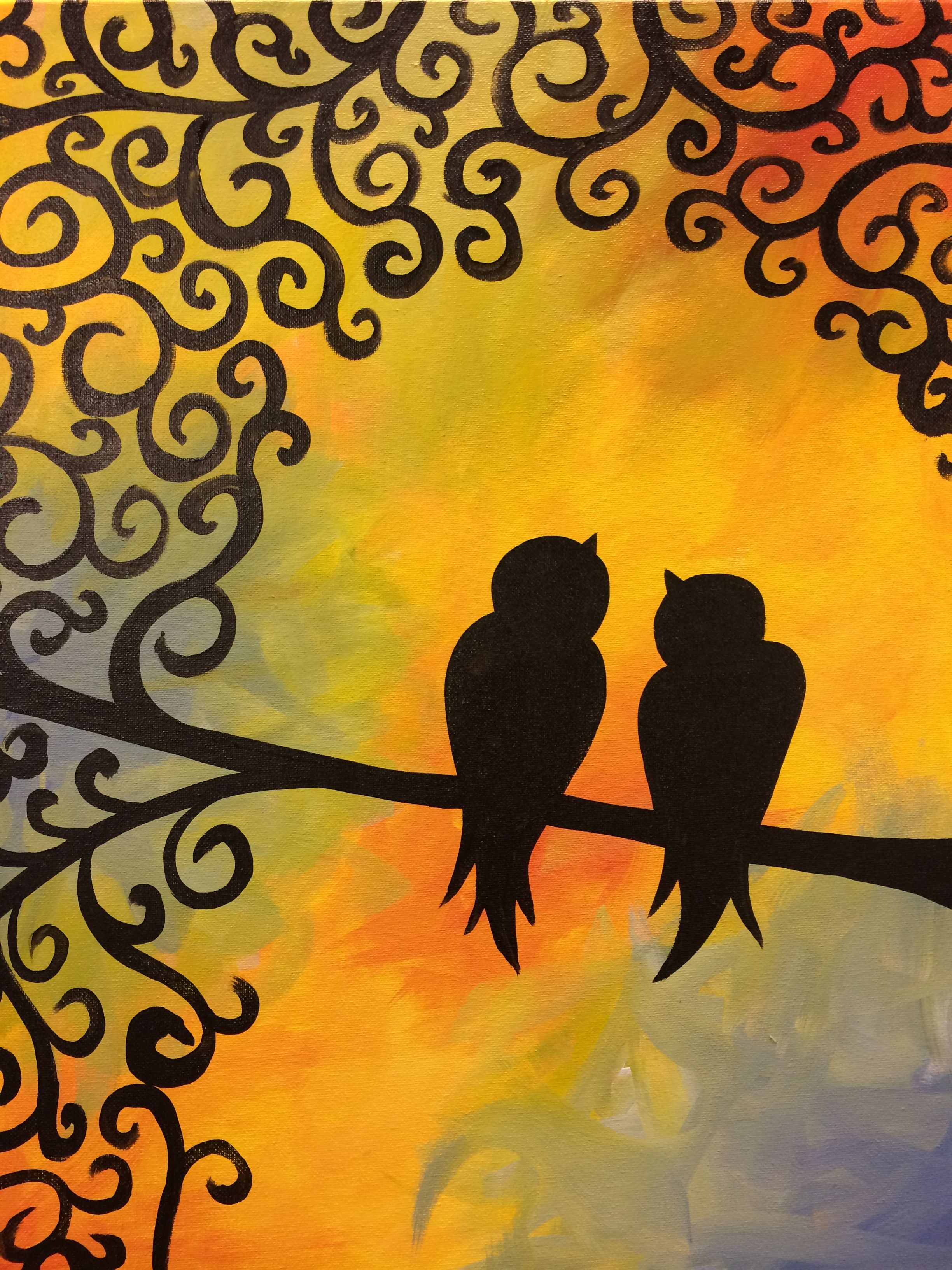 Birds of a Feather Painting  - All paintings are taught at Painting and Pinot - Baton Rouge