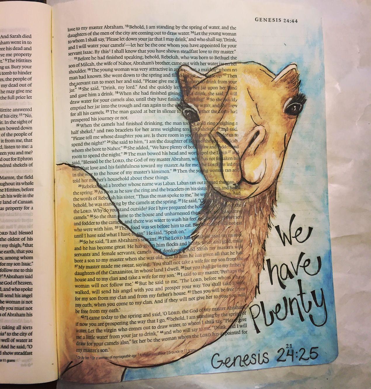 Genesis 24, bible journaling, illustrated faith Or use it in mathew 19: camel through the eye of a needle