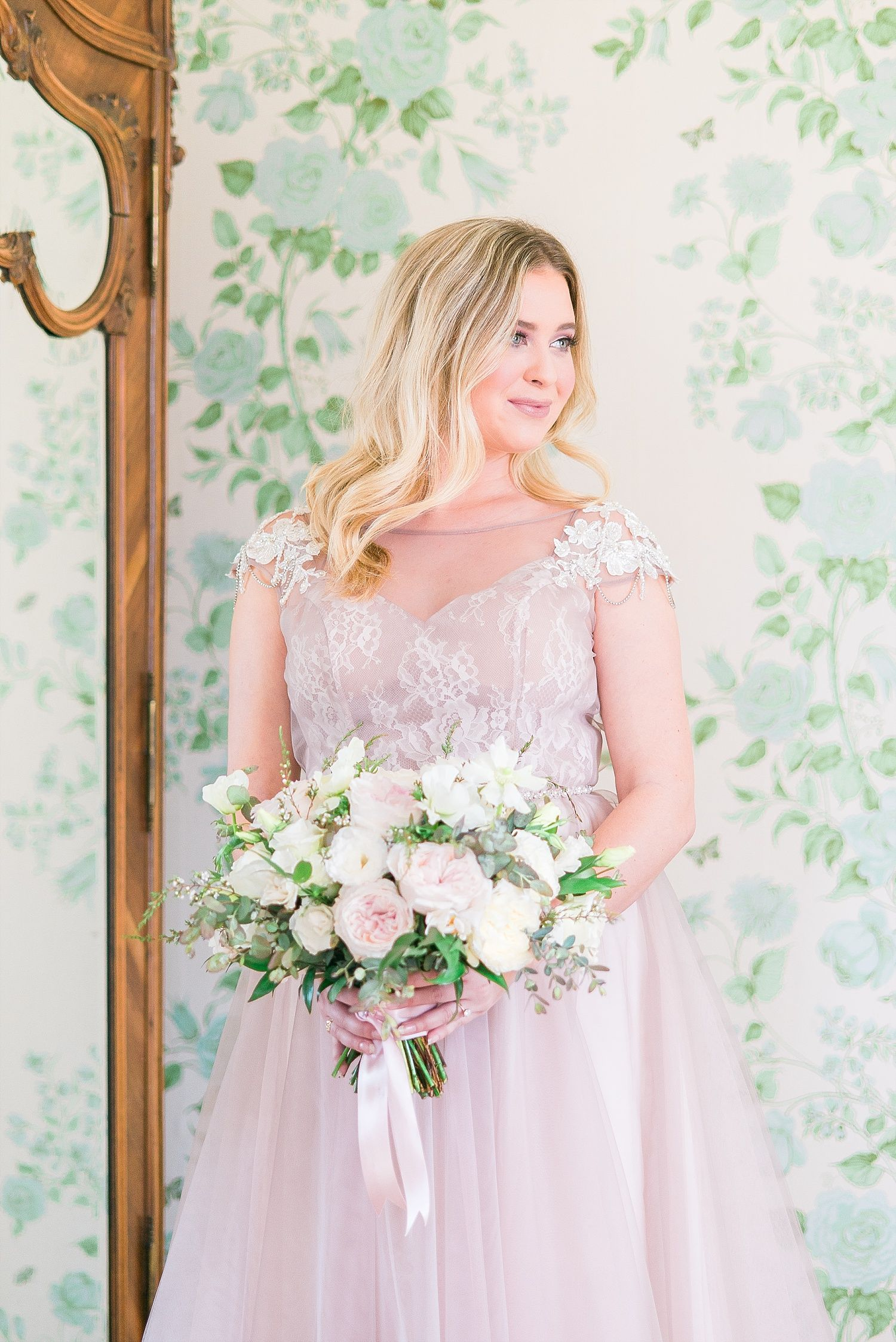 Beautiful Pink And White Bridal Bouquet With White And Green Dusty Pink Bridal Gown Pale Pink W Top Wedding Dresses Pink Wedding Gowns White Bridal Bouquet [ 2246 x 1500 Pixel ]