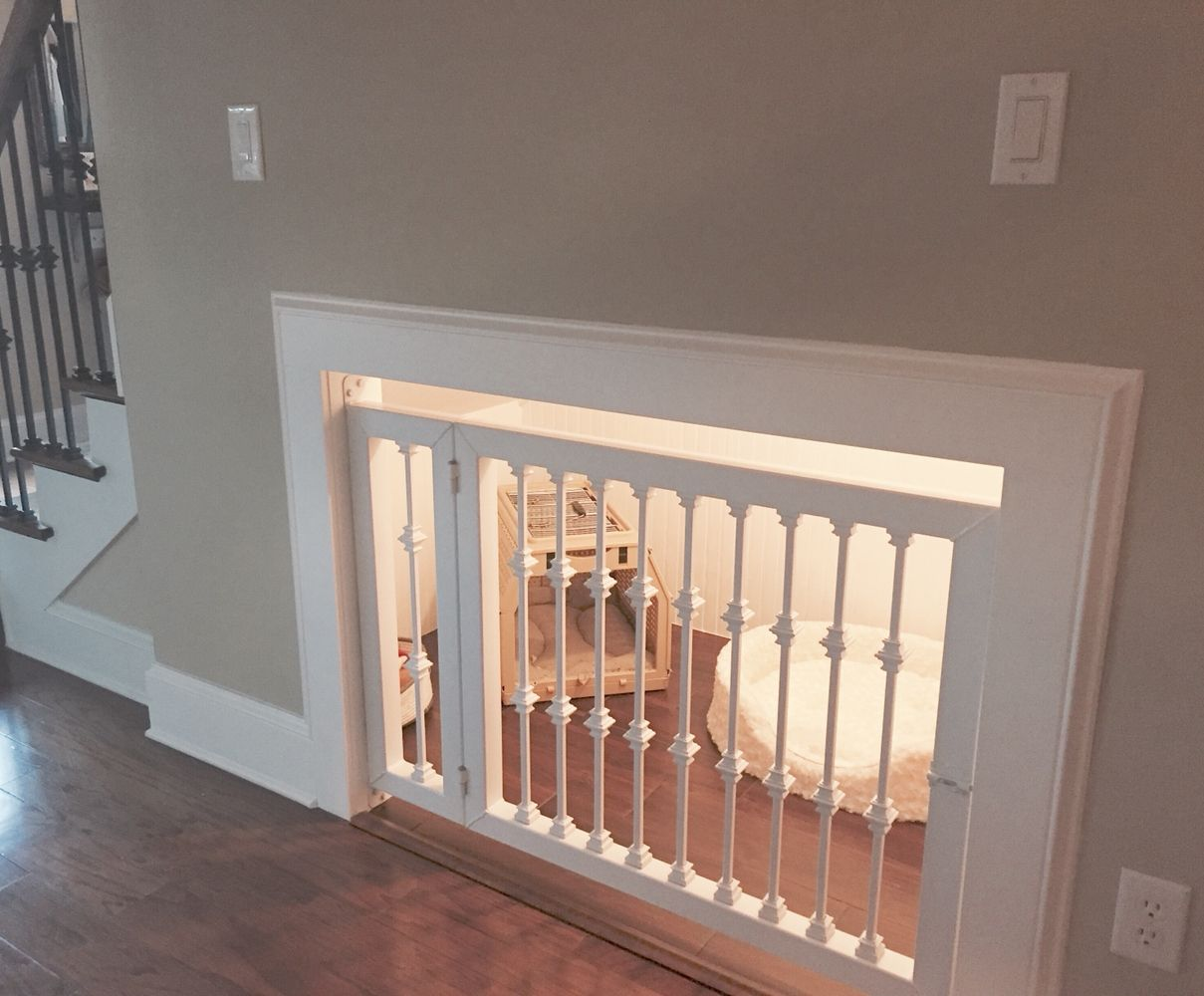 Attractive And Functional Dog Kennel Built Under The Stairs