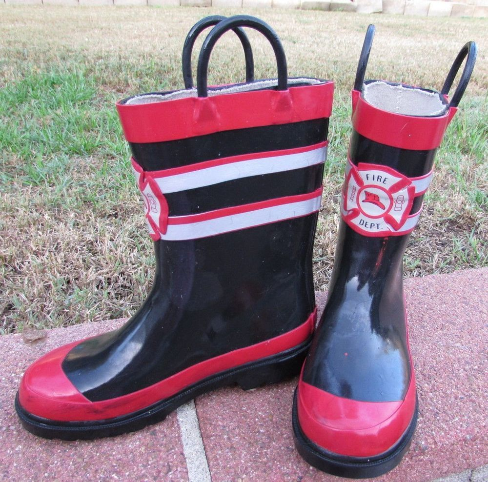 Fireman Rain Boots Size 11/12 Toddler Boy Black Red Best Deal ...