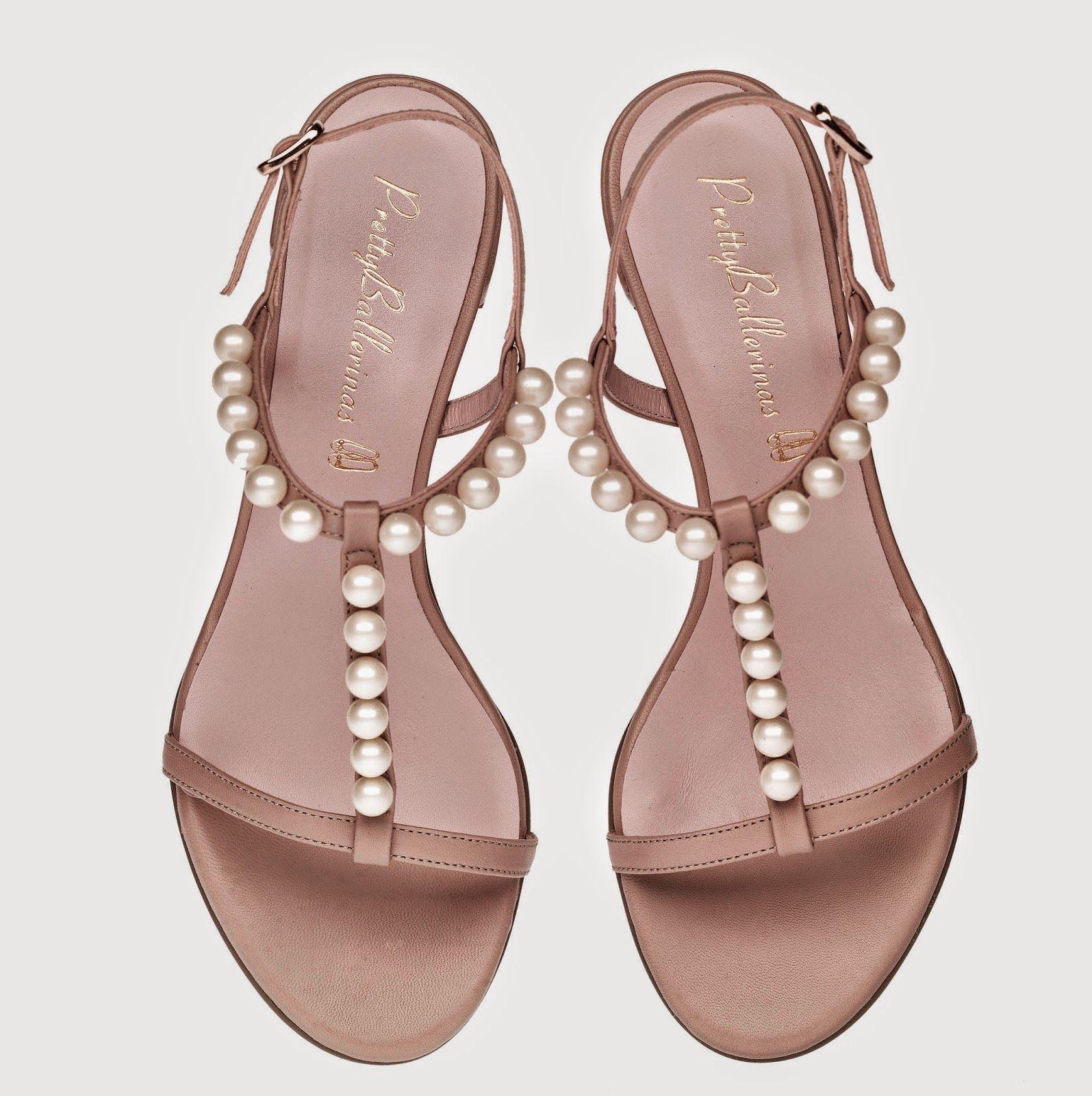 Modelo Faith color nude de cuero y perlas de Pretty Ballerinas para novia