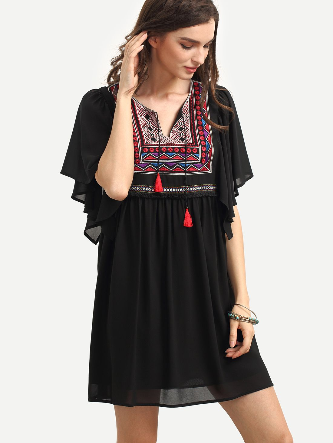 Buy it now. Black Vintage Embroidered Shift Dress. Black Vintage Polyester V Neck Short Sleeve Shift Short Embroidery Embroidery Fabric has no stretch Summer Tunic Dresses. , vestidoinformal, casual, camiseta, playeros, informales, túnica, estilocamiseta, camisola, vestidodealgodón, vestidosdealgodón, verano, informal, playa, playero, capa, capas, vestidobabydoll, camisole, túnica, shift, pleat, pleated, drape, t-shape, daisy, foldedshoulder, summer, loosefit, tunictop, swing, day, offthe...