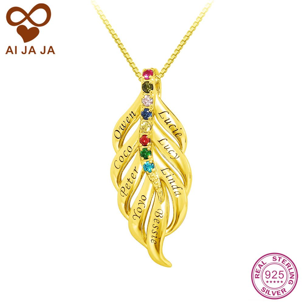 Aijaja personalized 925 sterling silver feather necklace pendants aijaja personalized 925 sterling silver feather necklace pendants customized family birthstones names engraved necklace aloadofball Image collections