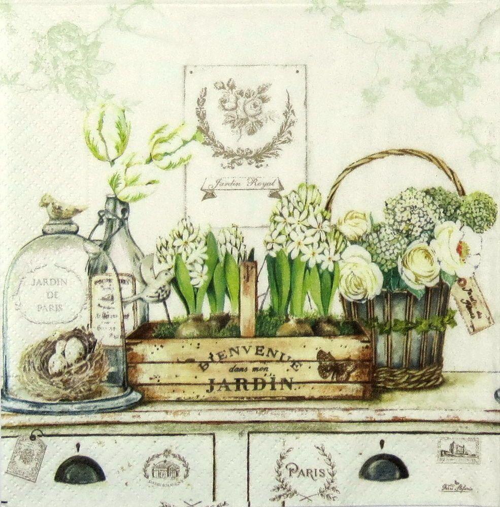 4x paper napkins vintage jardin royal for party for Jardines vintage