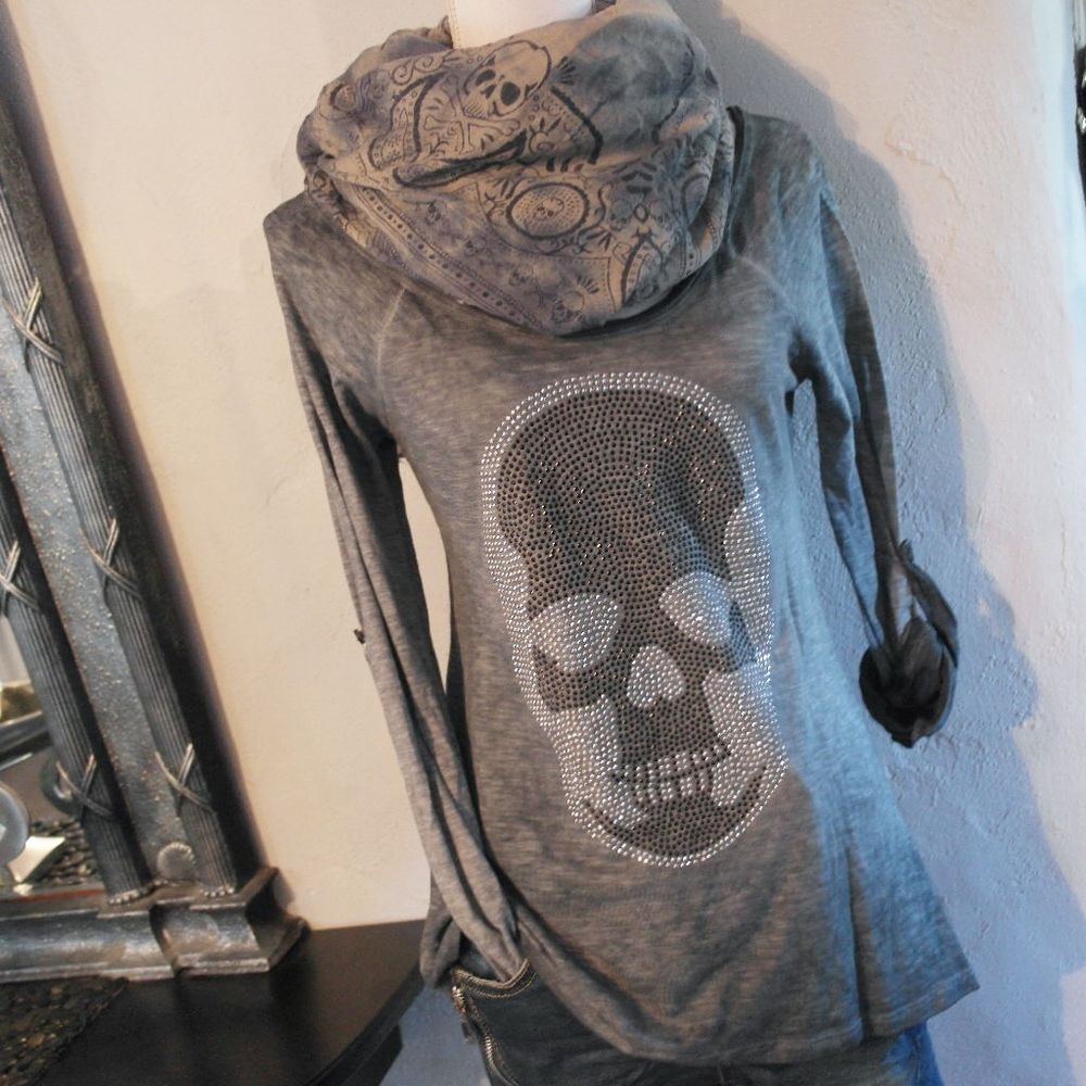 Impressionen T-Shirt langarm jeans blau batik Shirt skull Totenkopf Nieten 38-42