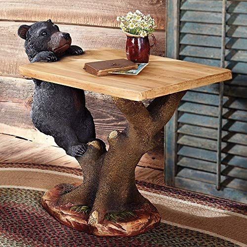 Amazing offer on BLACK FOREST DECOR Black Bear Climbing Accent Table- Rustic Wood Side Stand  Living Room, Patio,  Kitchen online - Prettytoppro