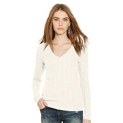 Cable Cashmere V-Neck Sweater - Polo Ralph Lauren Shop All - Ralph Lauren UK