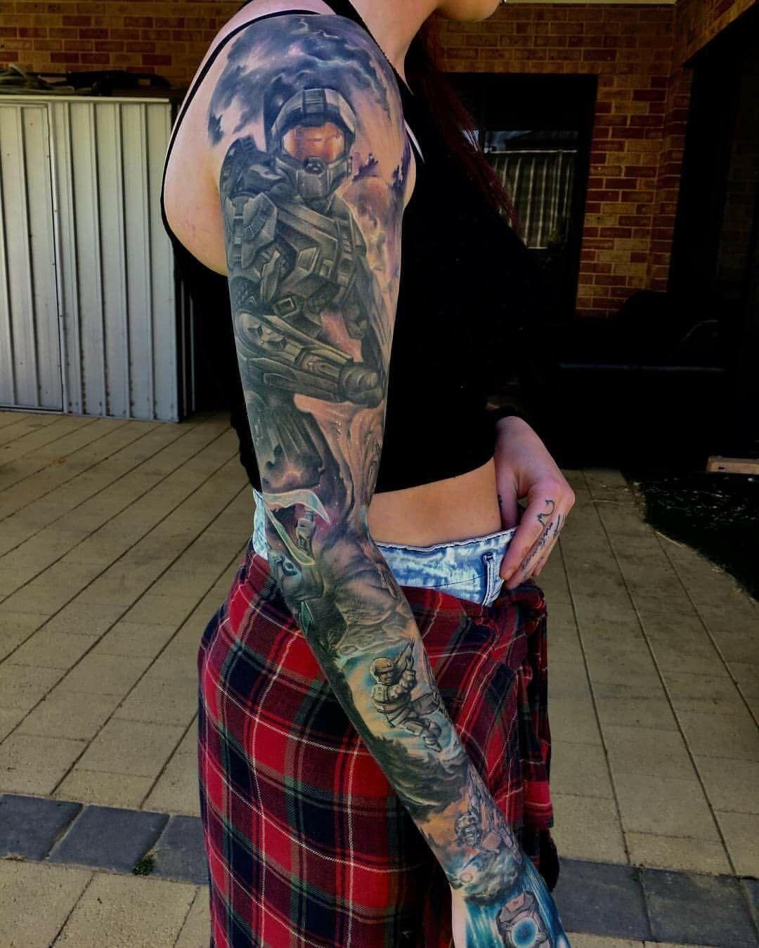 Xbox Tattoo Ideas: My Halo Sleeve I Have The Arbiter On The Inside Of My