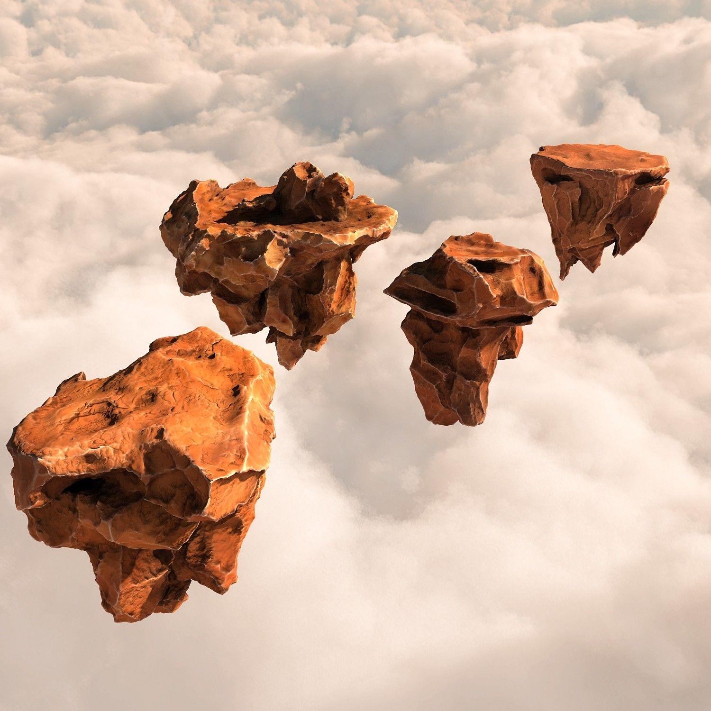 3d model pack flying rocks stones 3d model, Rock, Flying