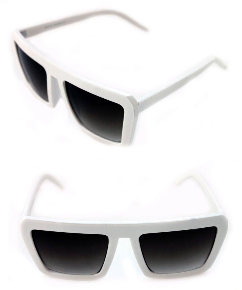 a48f738a6e Men s Women s Square Shape Retro Vintage Sunglasses white Frame 80 s Hip  Hop EDM  Unbranded  Square