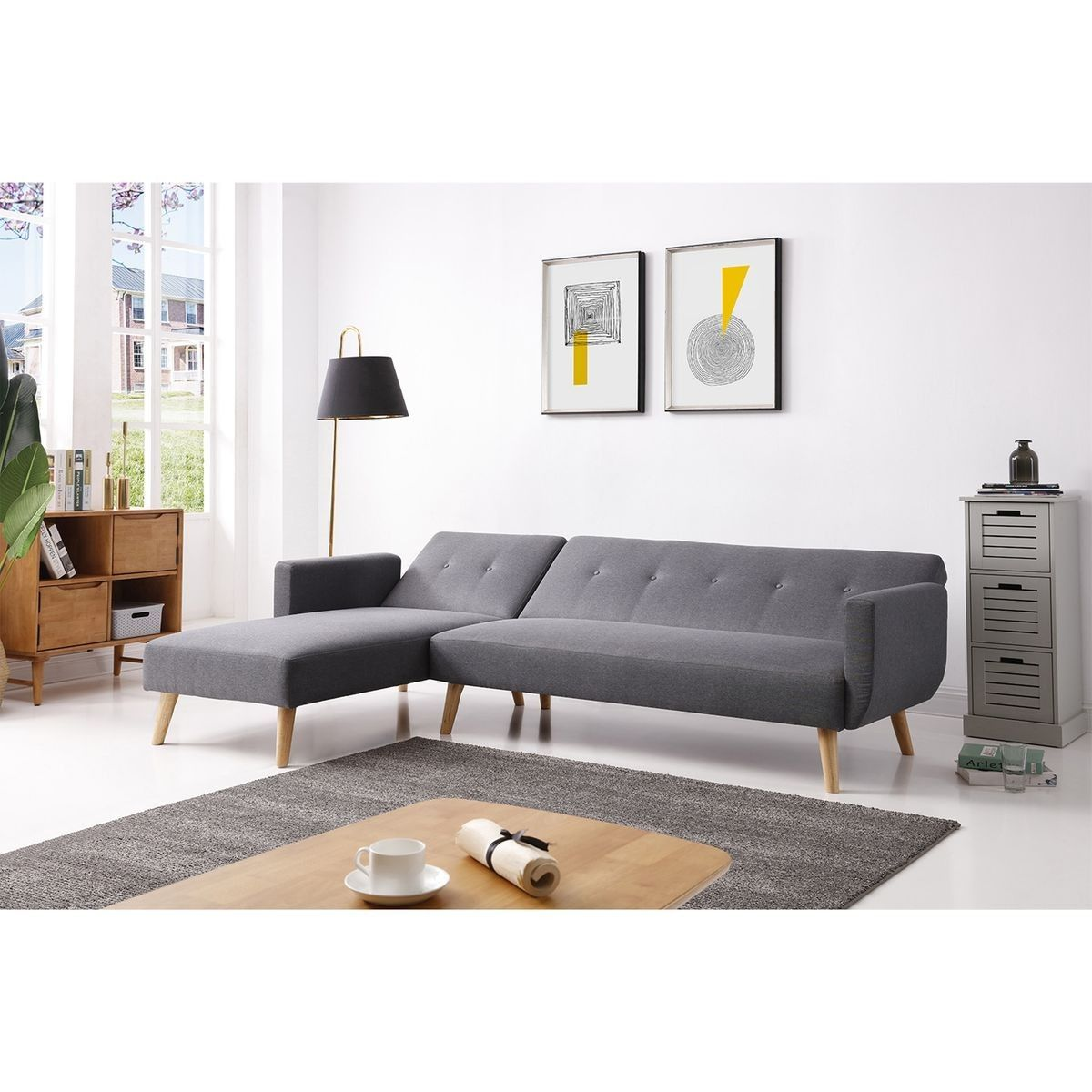 Canape D Angle Convertible 4 Places Style Scandinave Berlin Xl