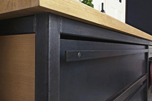 Schwarzer Stahl küchenzeile schwarzer stahl holz arbeitsplatte küchenzeilen