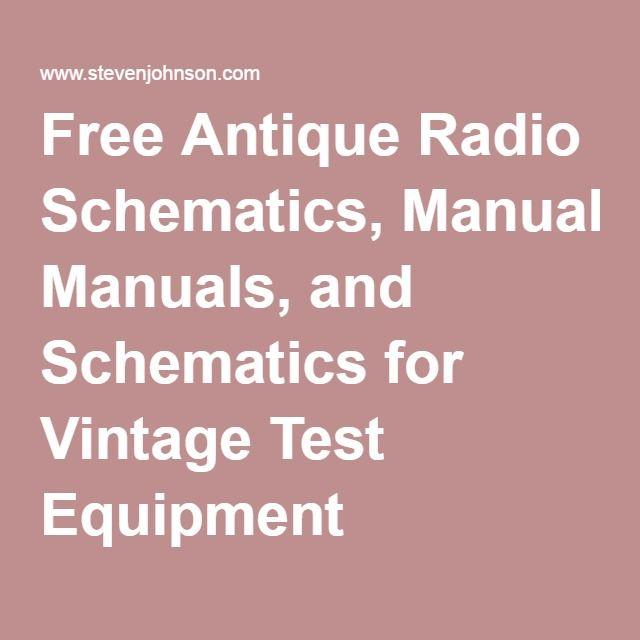 Free Antique Radio Schematics, Manuals, and Schematics for Vintage ...