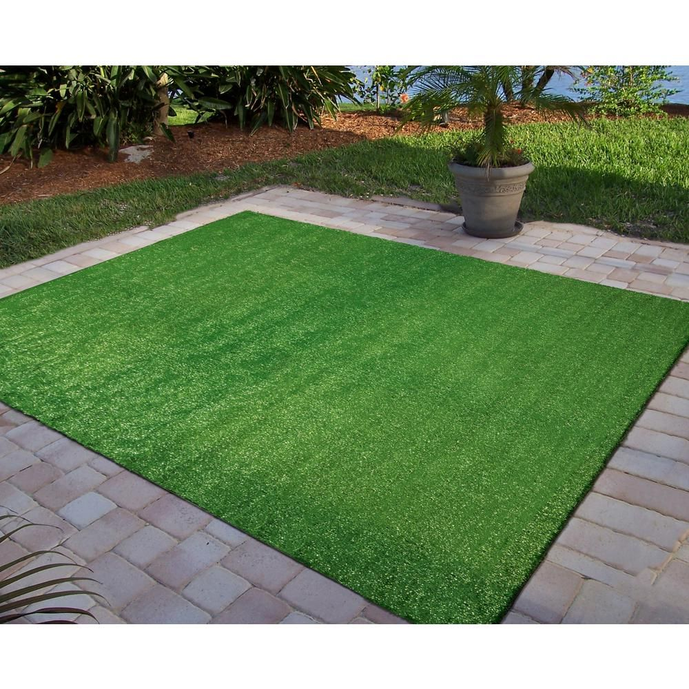 Ottomanson Evergreen Collection 6 Ft 7 In X 9 Ft 3 In Artificial Grass Synthetic Lawn Turf Indoor Outdoor Carpet R350 7x10 With Images Lawn Turf Synthetic Lawn Artificial Lawn