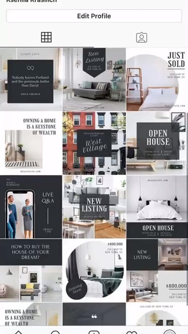 Real Estate Instagram Post & Stories Template.  Re