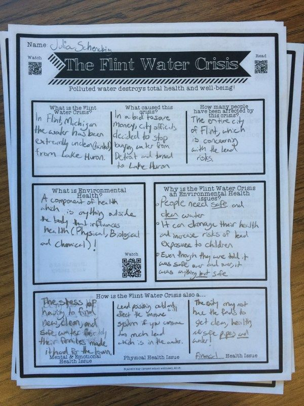 Environmental Health, Flint Water Crisis, Middle School Lesson - health lesson plan