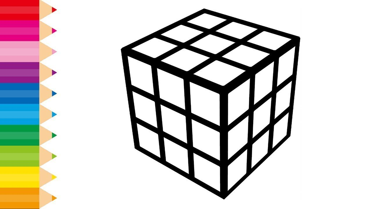 Glitter Rubik S Cube Coloring Pages For Kids And Learn Colors
