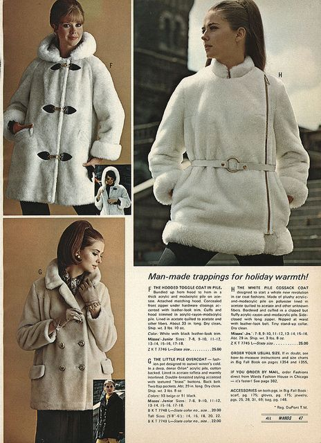 """1968 """"Man-made trappings for holiday warmth"""" alright then. (I'm amused by that one with the belt.)"""