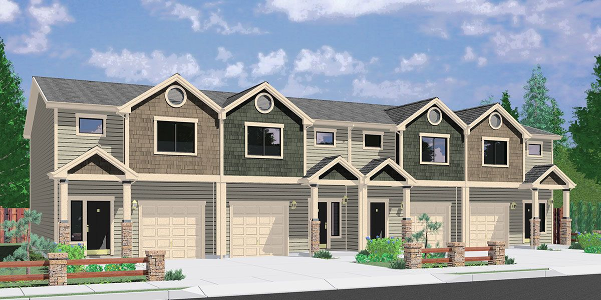House front color elevation view for F-564 Four plex house ... on townhouse floor plans with garage, small townhouse plans garage, narrow duplex with garage,