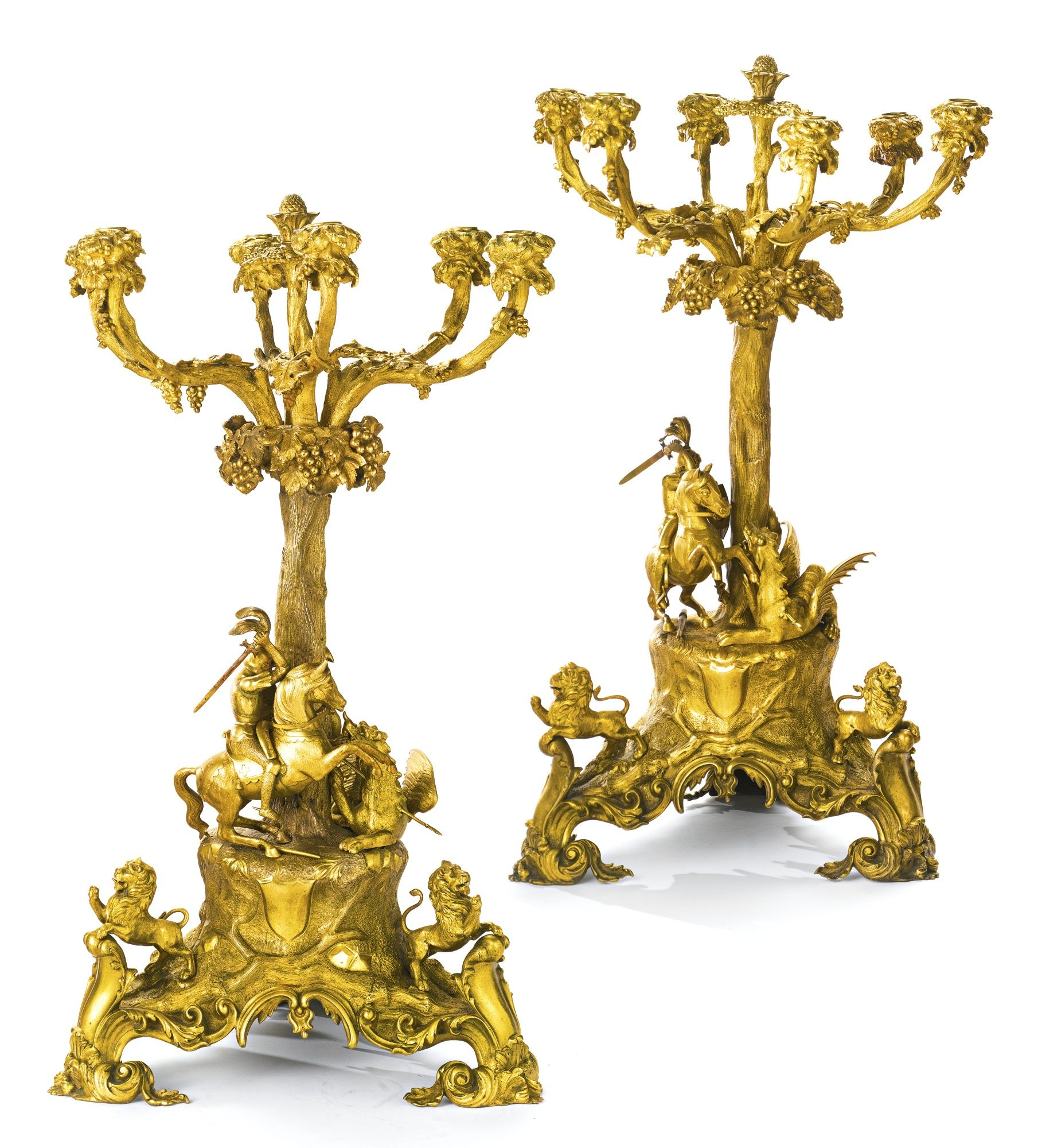 Large Pair Of Gilt Bronze Six Light Candelabra, Each Cast With A Templar Knight Slaying A Dragon - England   c. Mid 19th Century   -   Sotheby's