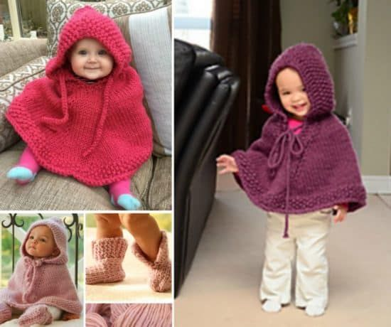 Knitted Hooded Baby Poncho Pattern Free | Baby poncho, Hooded poncho ...