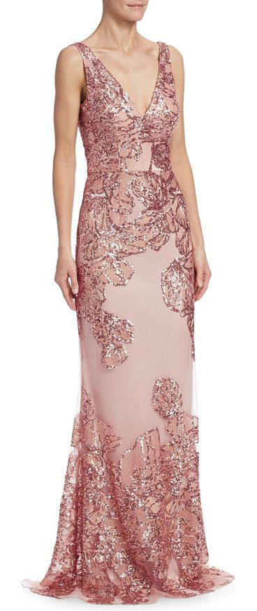sequin embellished gown by David Meister. Sleeveless gown in sequin ...