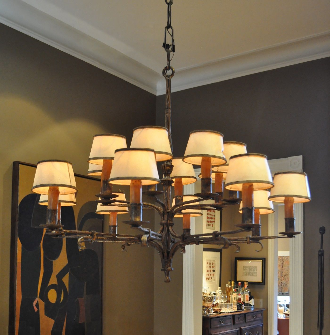 This Gilded Wrought Iron Chandelier Has Parchment Shades And Real Wax Candle Sleeves