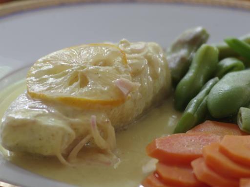 poivre, échalote, citron, crème, fumet, beurre, curry, églefin, tomate cerise, sel, vin blanc