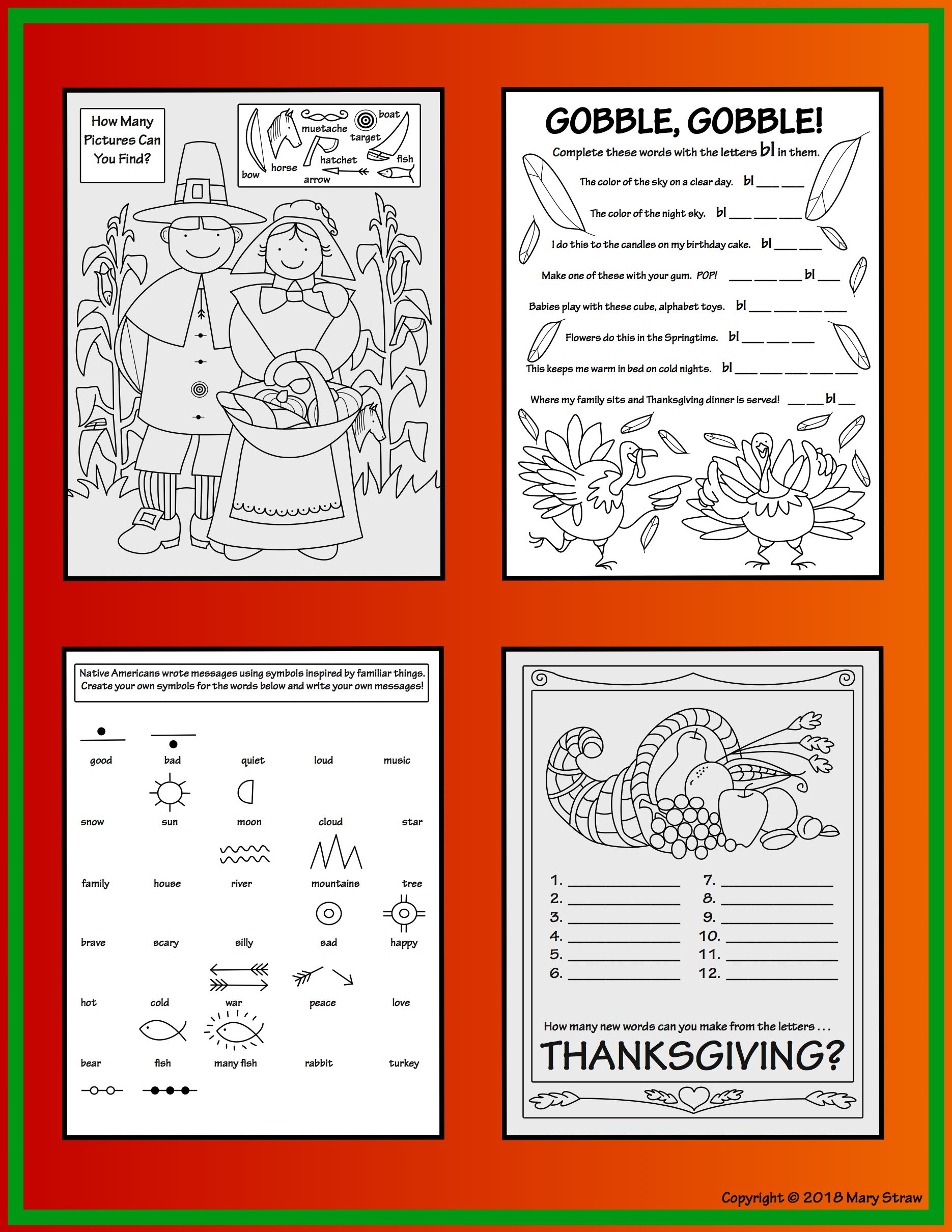 Thanksgiving activity coloring pages kindergarten first and