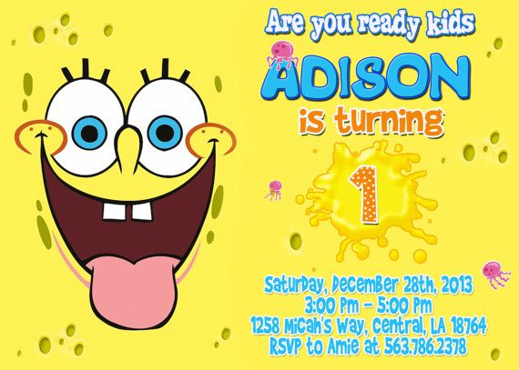 Spongebob Birthday Party Invitation by FantasticInvitation Koidens