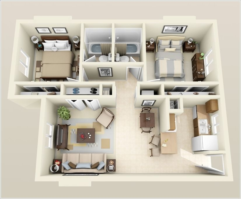 10 awesome two bedroom apartment 3d floor plans bedroom for Four bedroom apartments