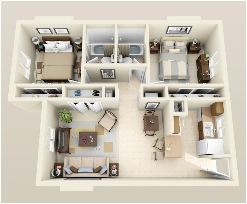 Planos de departamentos de dos dormitorios selecci n de for Planos de apartamentos pequenos de dos habitaciones