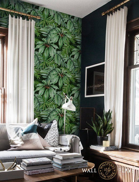 Jungle Leaves Removable Wallpaper - Peel & Stick, Repositionable Fabric Textured Walls, Fabric Wallpaper