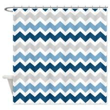Navy Blue Grey White Chevron Shower Curtain | Blue grey, Chevron ...