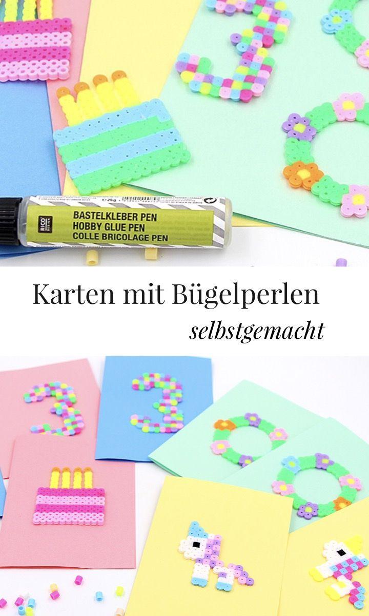 Basteln mit Bügelperlen - schöne Geburtstagskarten Vorlagen