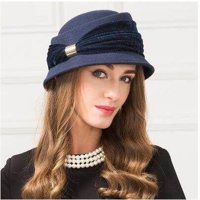 f2380247bd0 Chic bow pork pie hat for women navy soft wool hats autumn wear ...