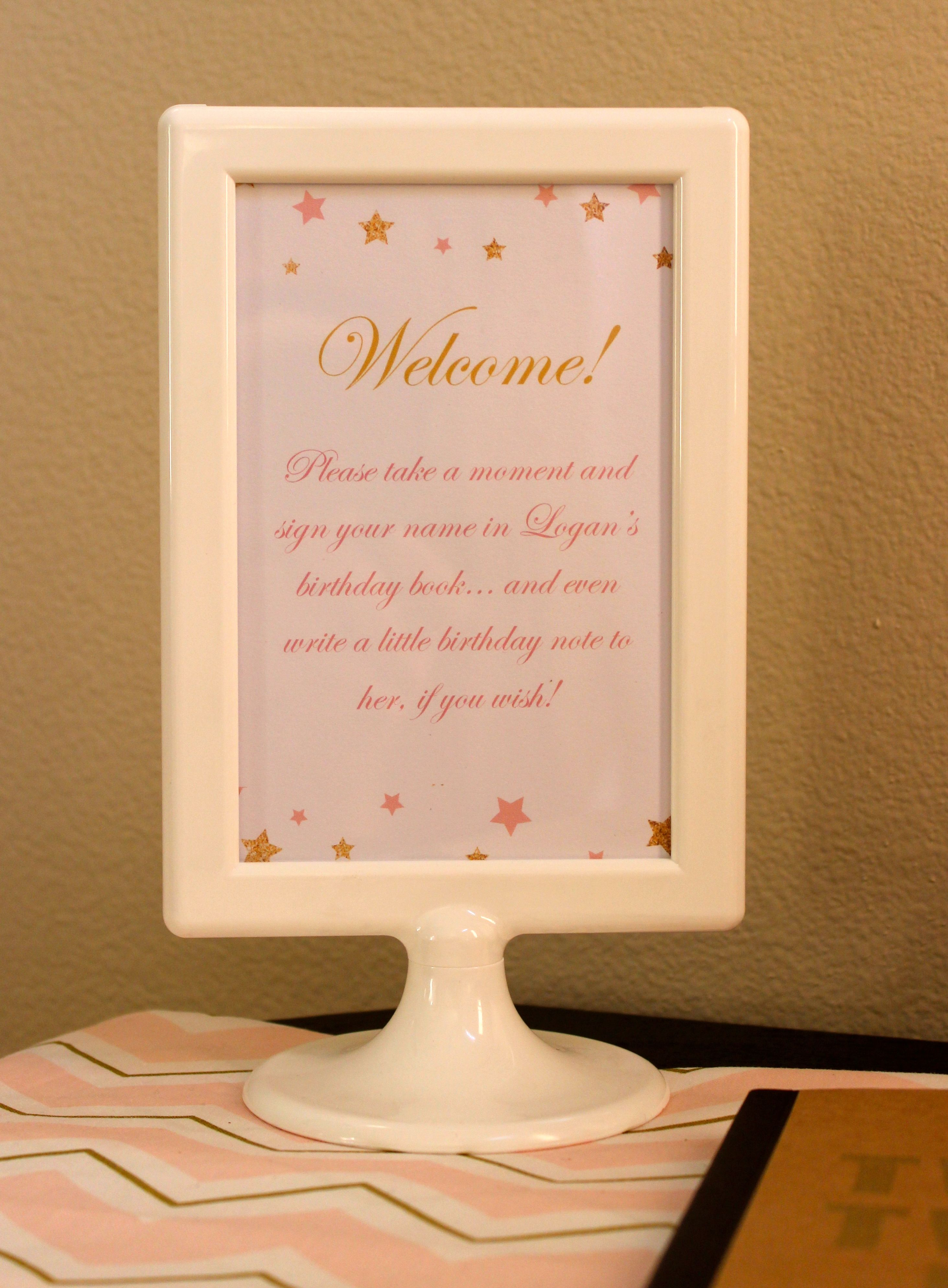 twinkle twinkle little star, party, first birthday, guest book, welcome message, pink and gold